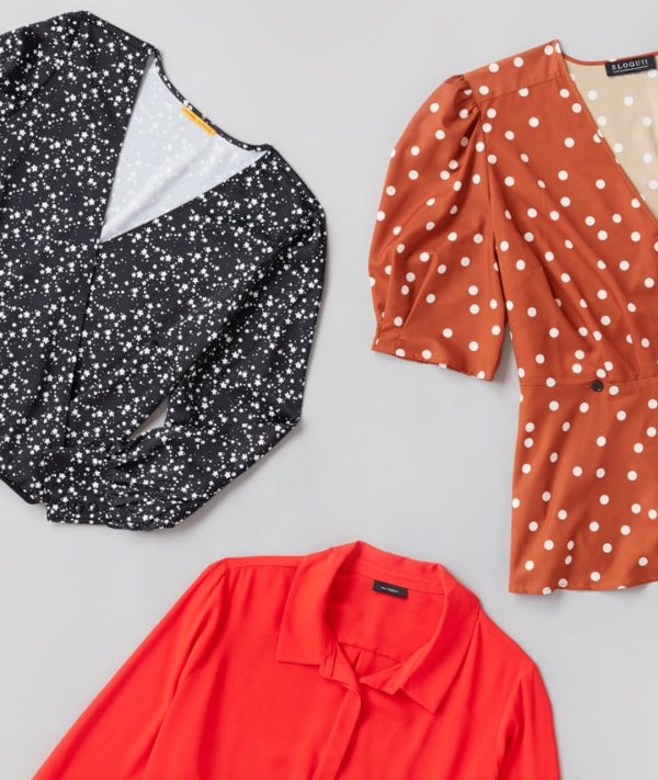 Three womens polyester shirts