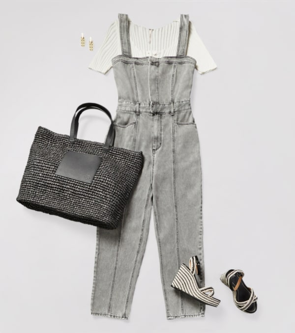 Gray wide-leg jumpsuit with wedge shoes