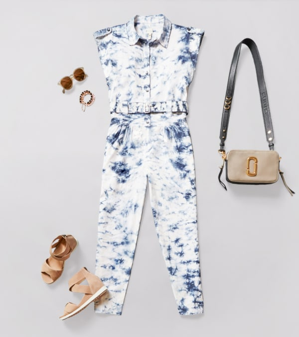 Women's tapered or straight leg jumpsuit with flat sandals