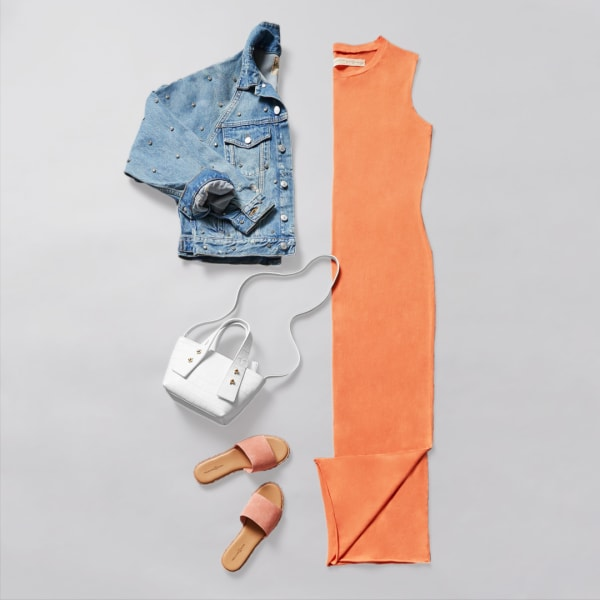 omen's maxi dress with a jean jacket and slip on sandals