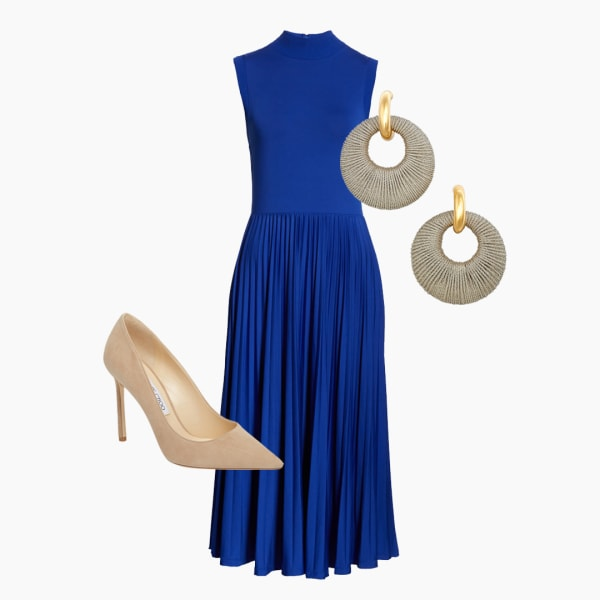 Blue dress with nude pointed toe heels and round earrings