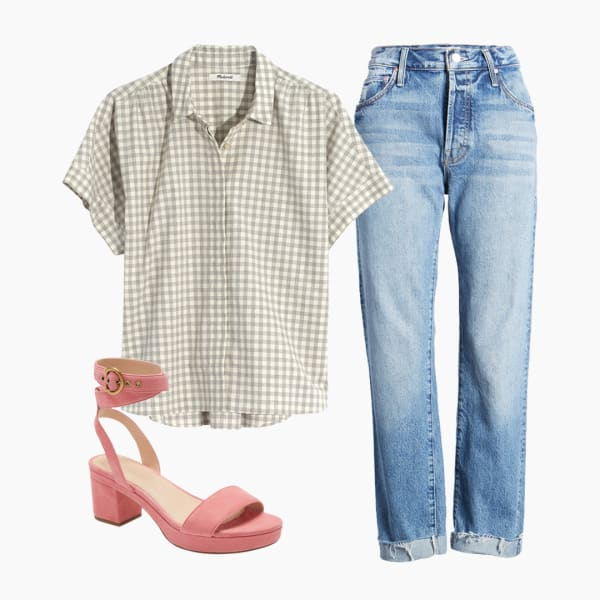Light wash denim jeans, flannel shirt with coral chunky ankle strap sandals