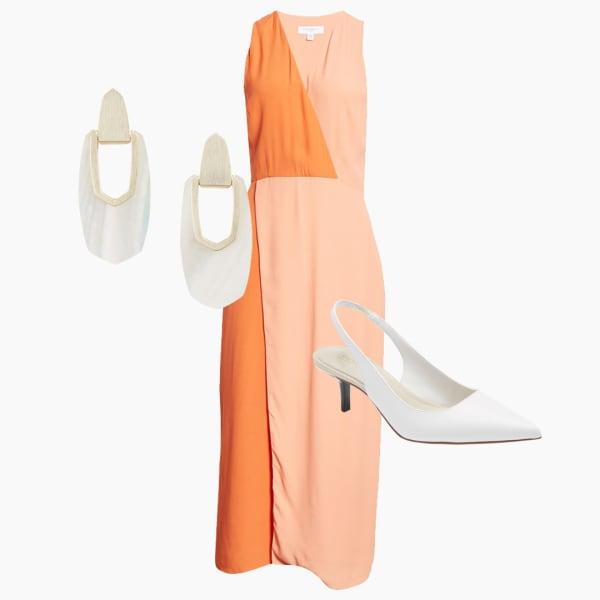 Two tone dress, white kitten pointed toe heels and white dangle earrings