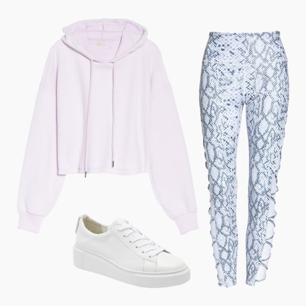 Womens athleisure pants, crop top hoodie and white gym shoes