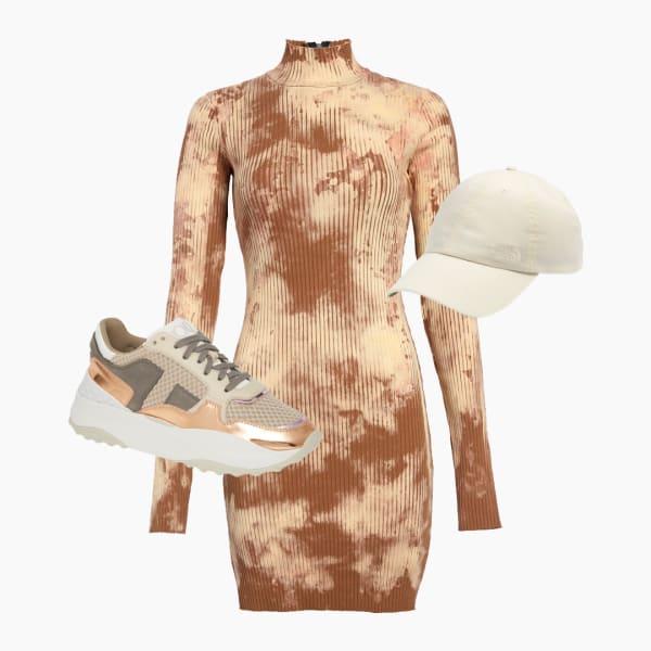 Gold dress, cream round rim baseball cap and gym shoes