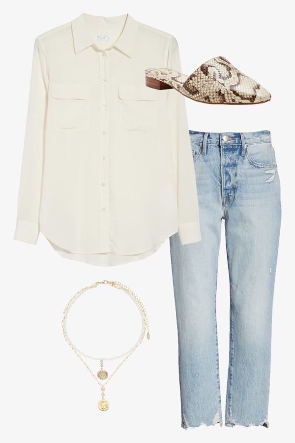 Silk white button down blouse paired with light wash denim jeans and fun slip on shoes