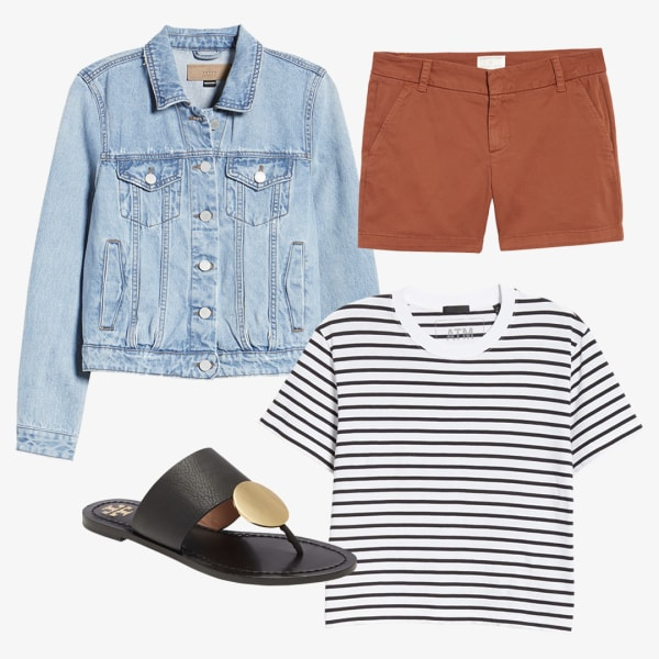 women's denim jean jack, shorts with a black and white striped shirt