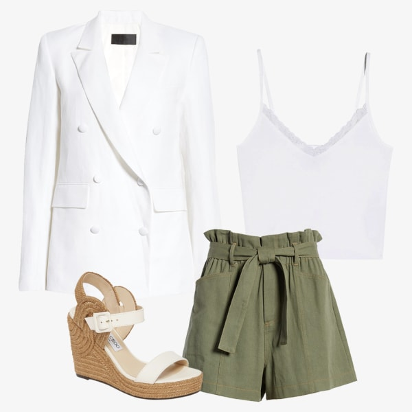 Women's paper-bag shorts paired with a white tank, oversized blazer and wedge sandals
