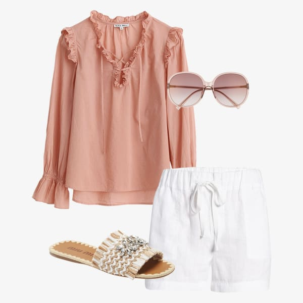 Linen white shorts, round two tone sunglasses and a Victorian-style lace top with a contrasting color