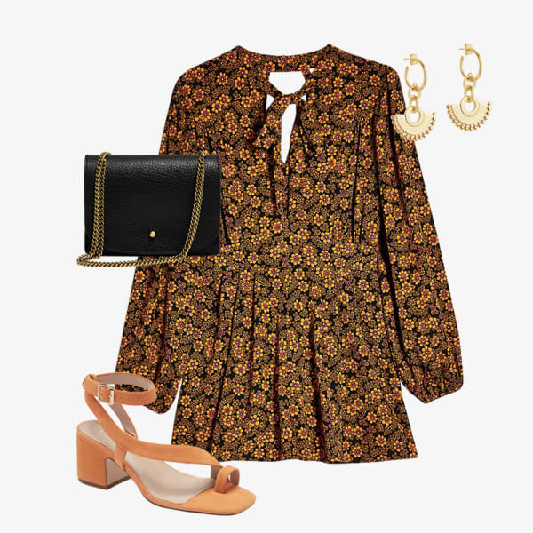 Floral romper, with a black purse and chunky sandals