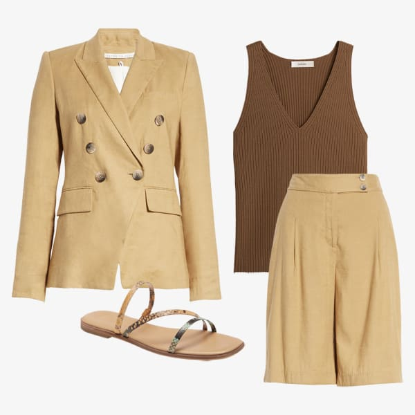 Women's trouser straight leg shorts paired with blazer and a tank top