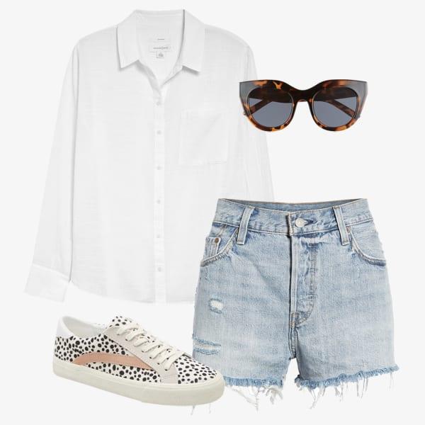 white button down shirt, white wash denim shorts, brown sunglasses