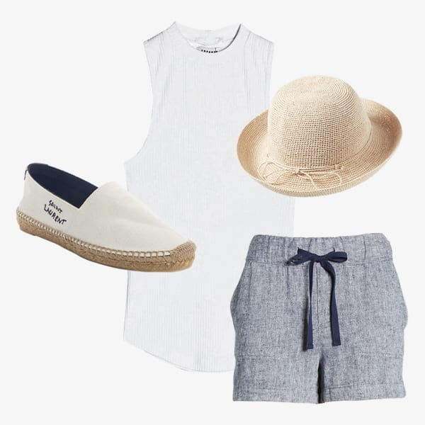 Women's tie-waist shorts paired with a simple white blouse, and a straw hat