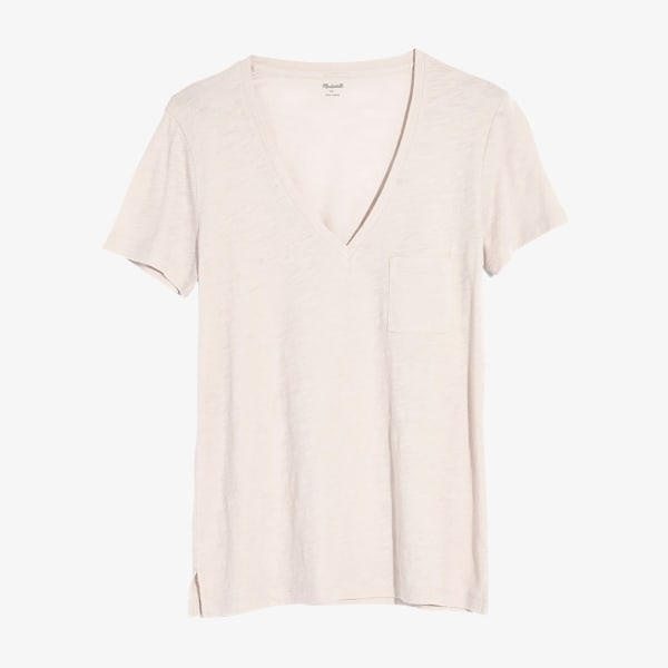 White v-neck t-shirt for women