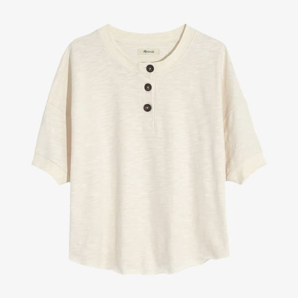 Women's cream Henley t-shirt