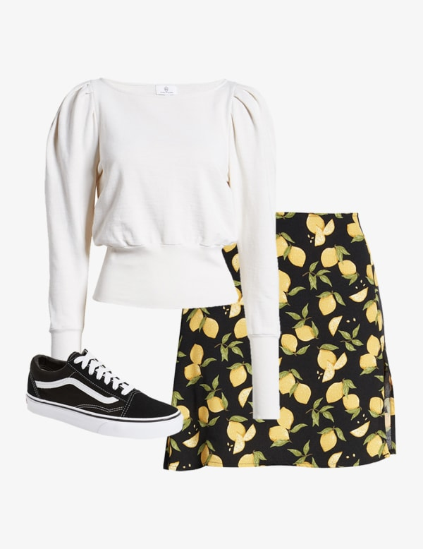 Mini skirt style with a long sleeve crop top
