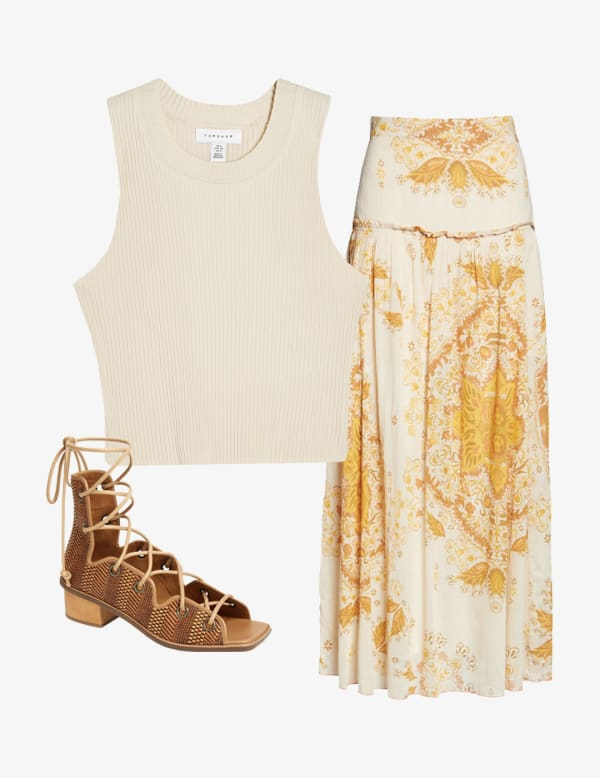 Maxi skirt outfit with sleeveless t-shirt