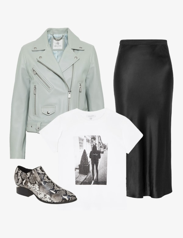 Slip skirt with a blazers and a graphic t-shirt