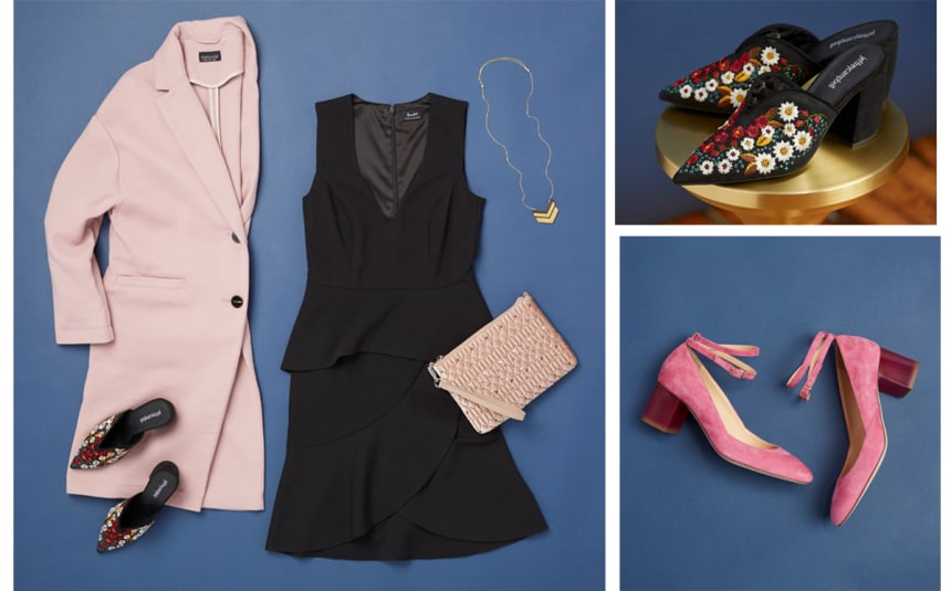 Pink suede heels or black mules for date night