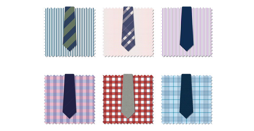 Six vector illustrations of patterned men's shirts with an assorted mix of patterned ties laid over each shirt to demonstrate a mix of potential pattern options.