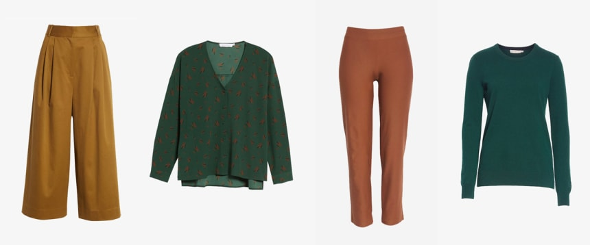 Brown trousers and green blouses and sweaters