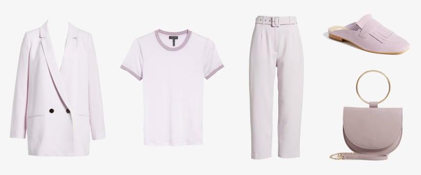 Lilac blazer, glitter tee, pants, mules, and handbag