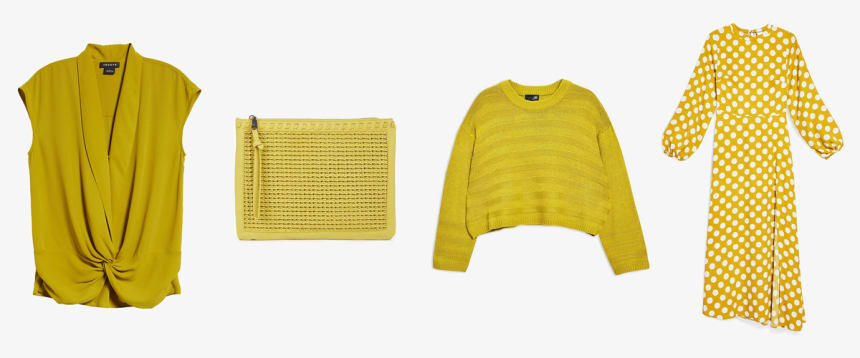 Ceylon yellow blouse, clutch, sweater, and dress