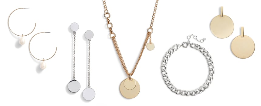 Minimal necklaces, earrings, and bracelets in gold and silver