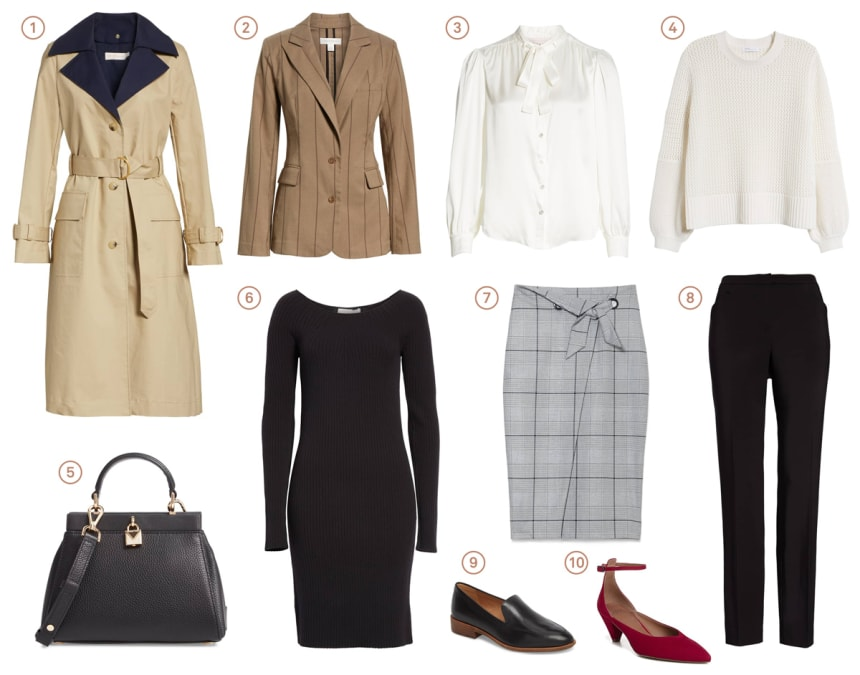 Collection of polished and professional womenswear meant for dressing for a conservative corporate environment.