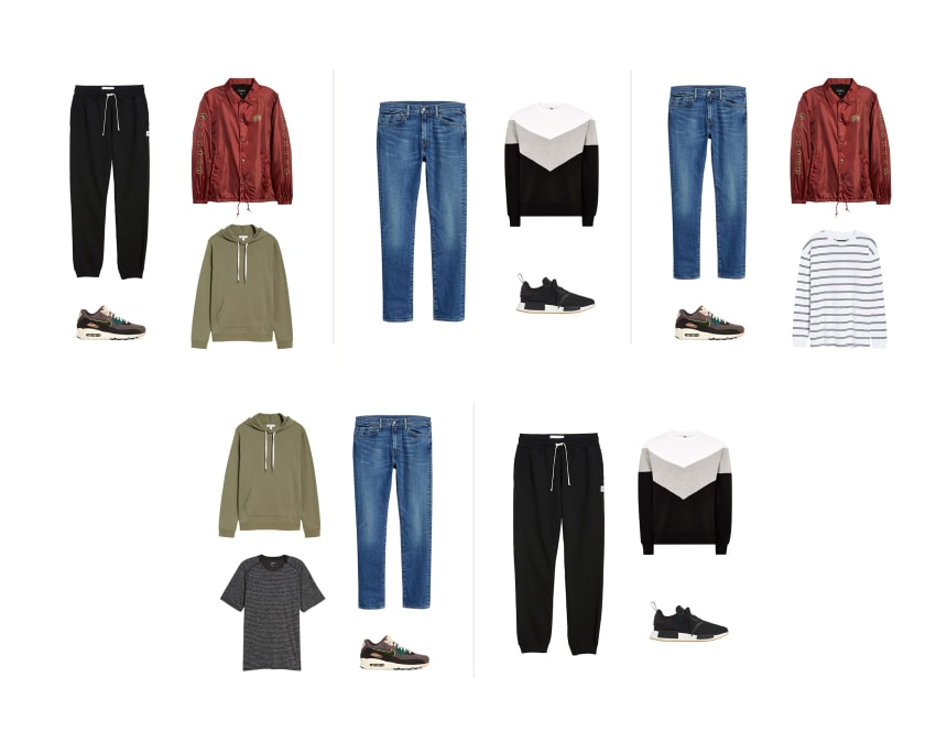 Five wardrobe combinations from the previous image consisting of ten items of sport forward menswear.