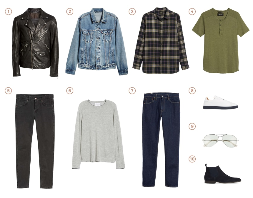 Men's capsule wardrobe with ten items of classic menswear.