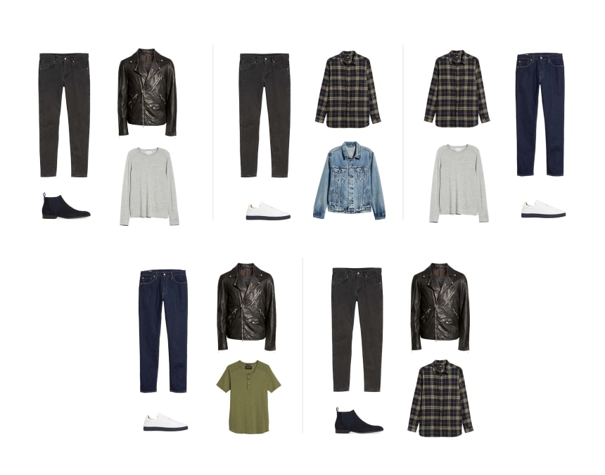 Five wardrobe combinations from the previous image consisting of ten items of classic menswear.