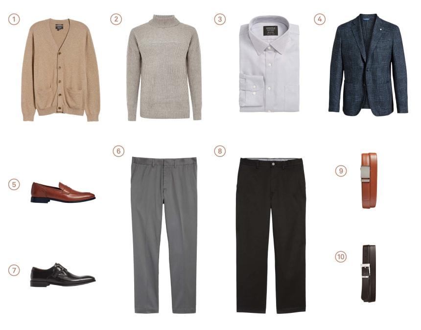 Men's capsule wardrobe with ten items of professional menswear.