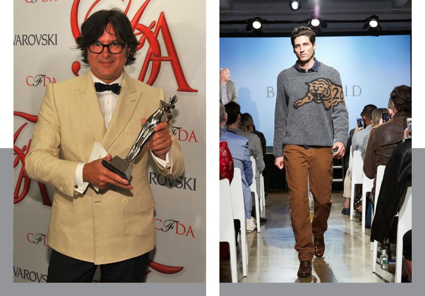 Left: Reid with his CFDA Award for 2012 Menswear Designer of the Year. Right: The limited-edition Tiger Crew sweater walks the runway at Nordstrom Live in 2018.