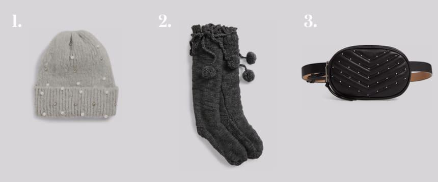 Beanie, socks, and belt bag.
