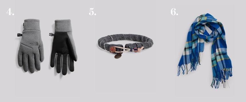 Gloves, bracelet, and scarf.