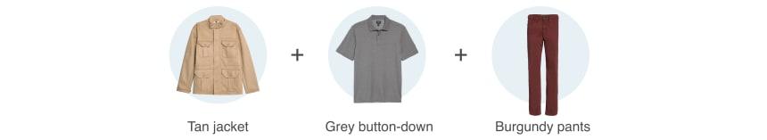 Tan jacket, grey button-down, burgundy pants