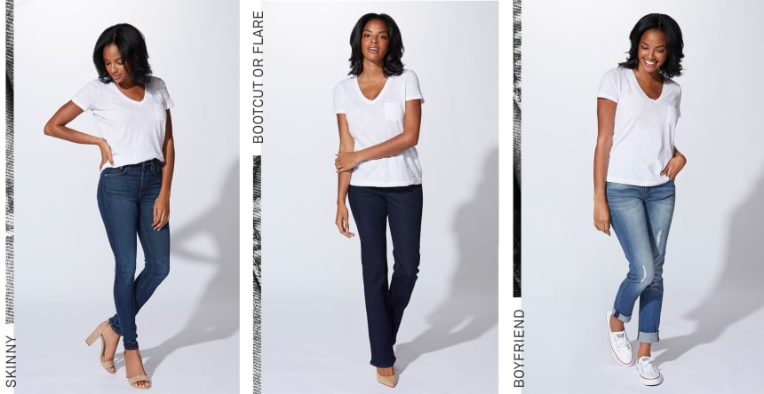 skinny bootcut flare jeans for inverted triangle