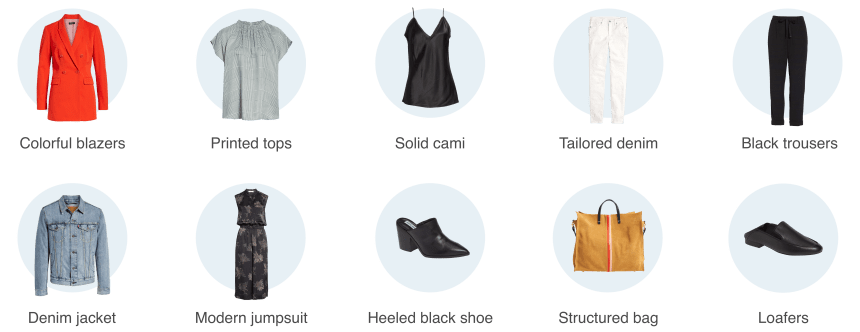 Casual work capsule wardrobe items