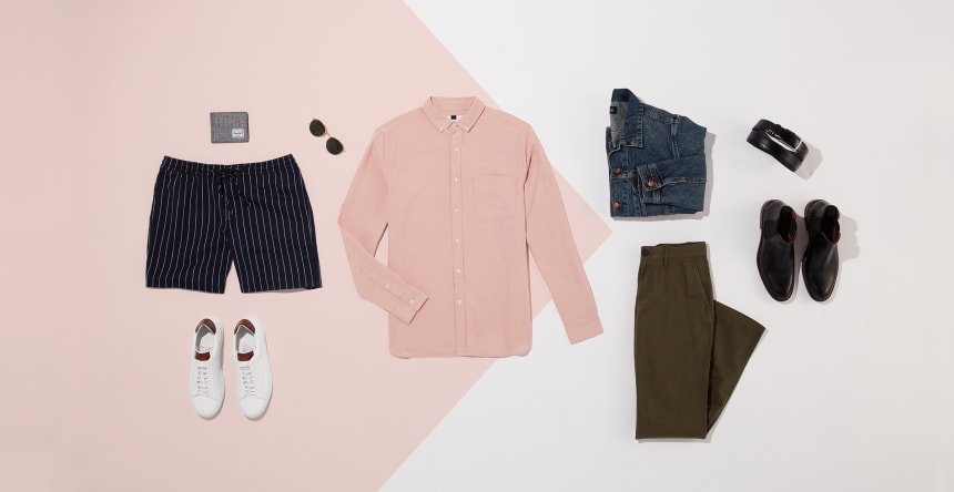Two outfits with a pink button-down