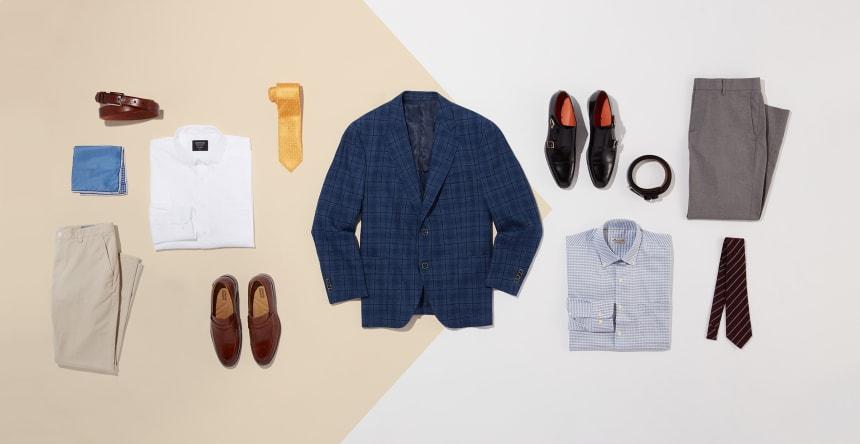 Outfits for a men's blue plaid sport coat