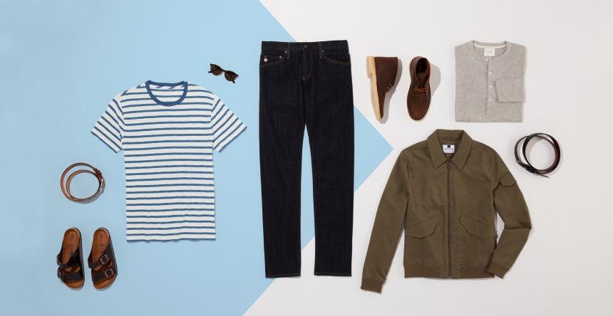 Men's fall dark denim outfits