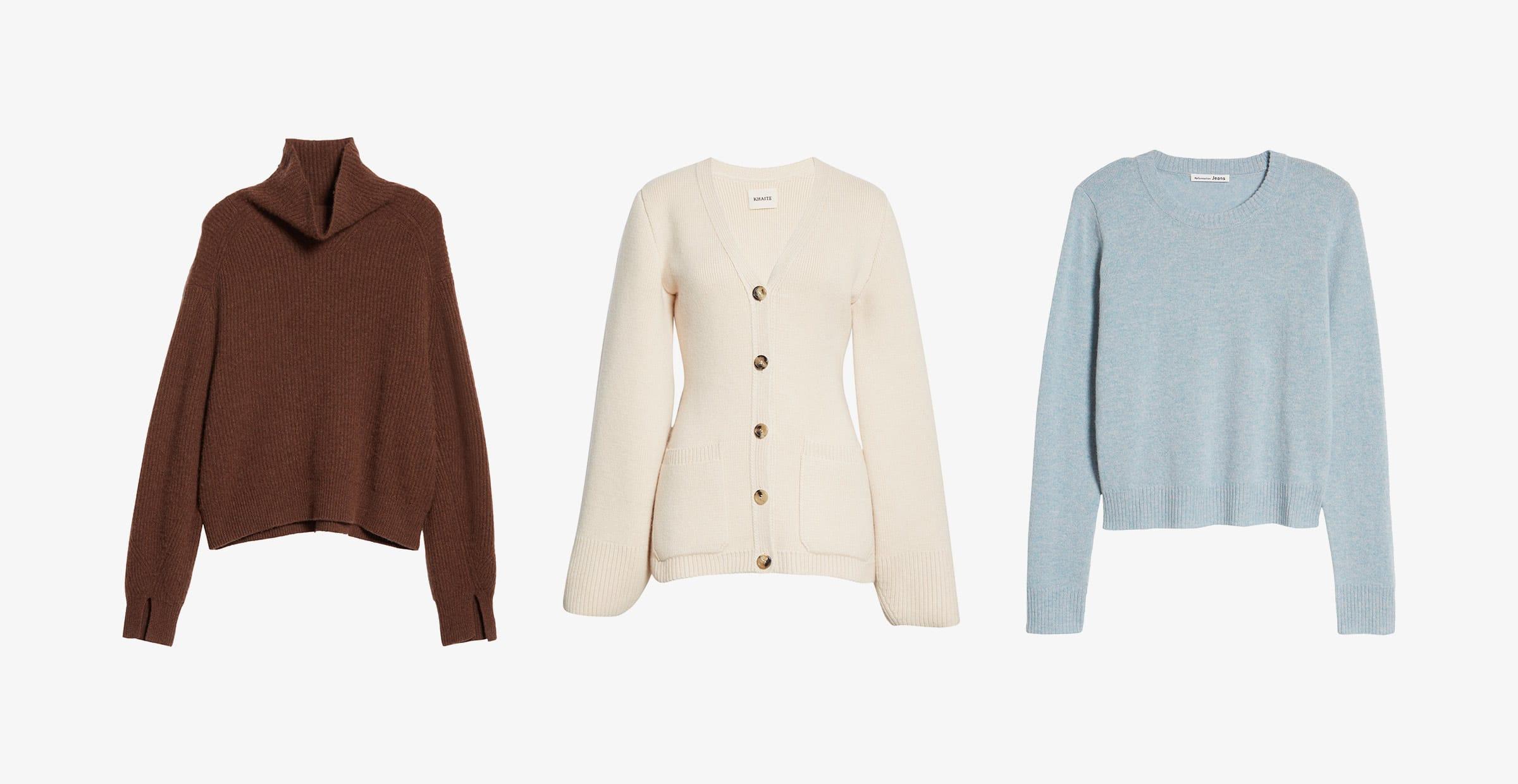 brown womens turtleneck, cream womens cardigan, blue crewneck womens sweater