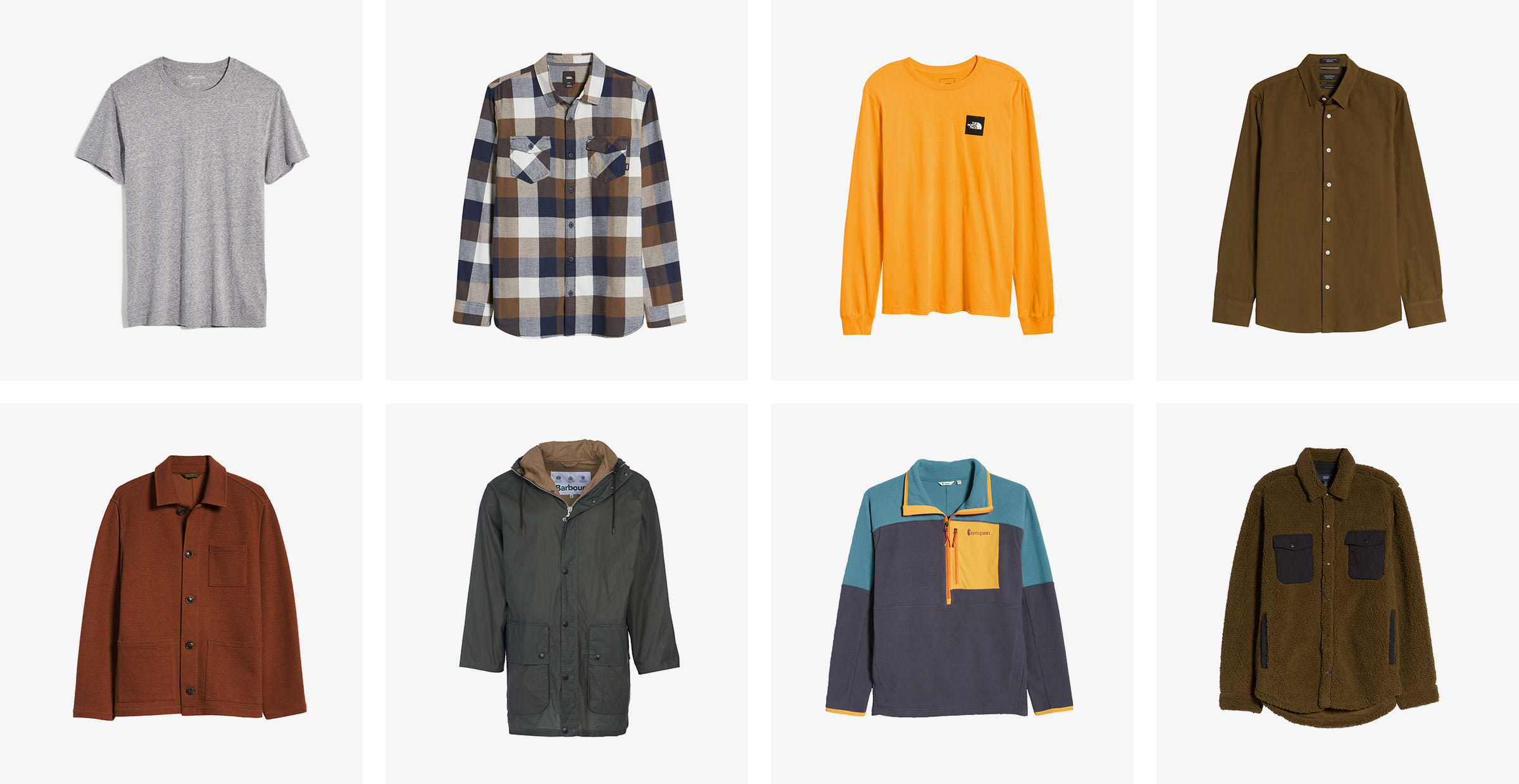 Men's grey tee, plaid shirt, orange tee, brown button-down, maroon button-down, brown parka, navy pullover and brown jacket.
