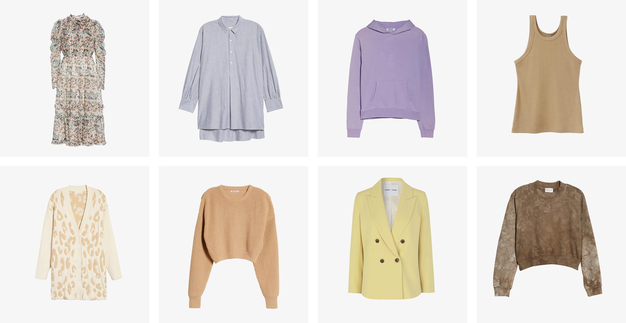 Women's printed dress, blue shirt, purple hoodie, tan tank, printed cardigan, tan sweater, yellow blazer and tie-die sweater.