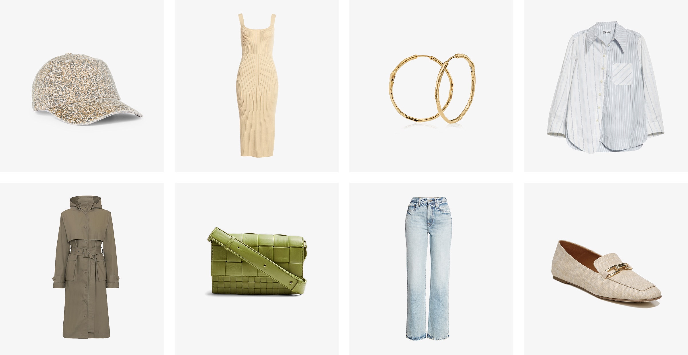 A women's cap, tank dress, earrings, shirt, trench coat, handbag, jeans and loafers, similar to items in a Trunk.