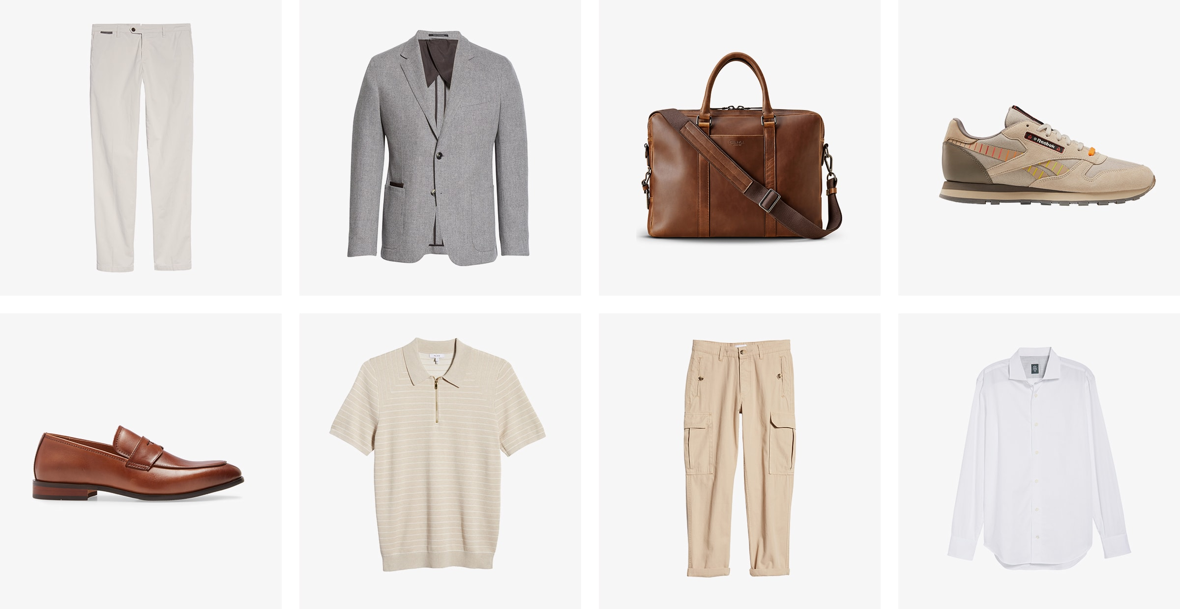 Men's pants, sport coat, briefcase, sneaker, loafer, polo shirt, cargo pants and button-down shirt.