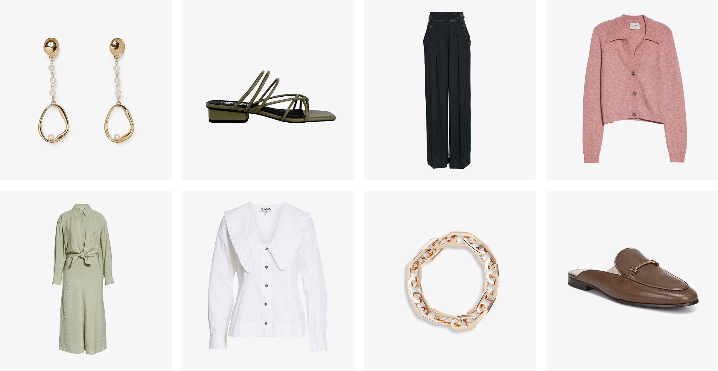 Women's earrings, sandal, trousers, sweater, shirtdress, blouse, necklace and mule.