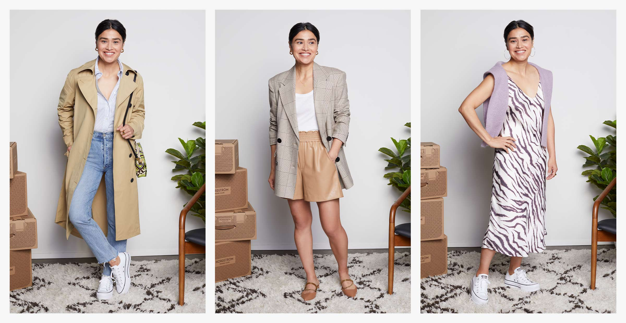 A woman wearing three different outfits and standing next to a stack of Nordstrom Trunk Club Trunks.