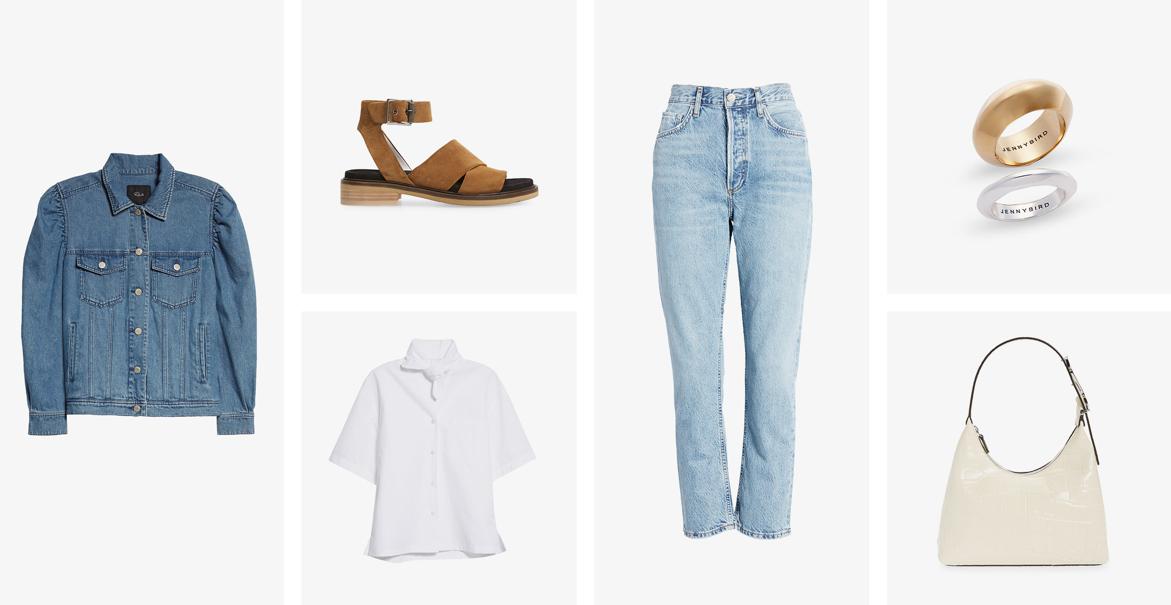 A women's denim jacket, leather sandal, white button-up shirt, light-wash jeans, set of two rings and purple handbag.